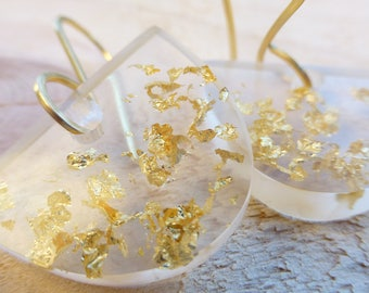 transparent eco resin earrings gold leaf flakes brass ear wires