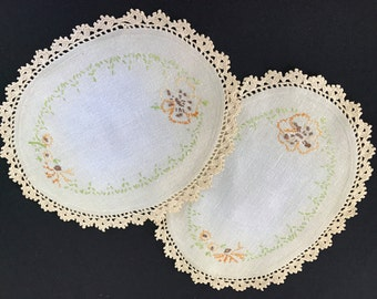 Pair of Vintage Ecru Embroidery Doilies with Crochet Trim