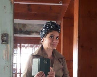 Turban Headband Turbandband Haarband Vintage fifties forties 40-er 50-er Fünfziger Haarschmuck Kopftuch Polka dots dunkelblau blau punkte
