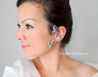Ear silver Elf with grey pearls