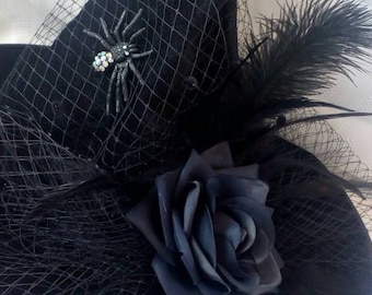 Witch hat Swarovski spider Halloween costume black hat with rose wicked harry potter fancy dress designer fascinator Wizard oz witches party