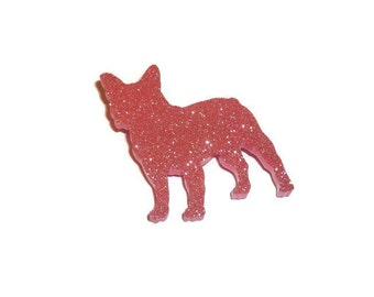 French Bulldog Brooch Pink Glitter Dog Pin Cute Sparkly Sparkle Quirky Laser Cut Brooch