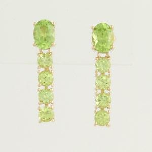 Peridot Drop Earrings - 14k Yellow Gold August Pierced 3.34ctw N526