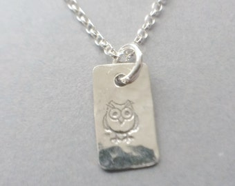 Sterling Silver Owl Necklace, Silver Owl Pendant, Owl Jewellery, Bird Necklace, Rectanglular Pendant, Minimalist Jewellery Gift For Her