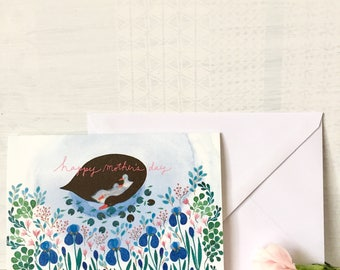Mother's day card, greeting card with watercolour illustration, swan mother's day card, birds and flowers card