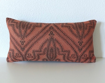 Red Brown Woven Stitch 8x16 Mini Lumbar Pillow Cover