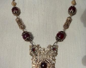 Antique Victorian Garnet Necklace--Vintage Upcycle