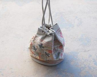 vintage 70s Embroidered Leather Bag Ethnic Kashmir Purse - 1970s Boho Drawstring Bag - Tribal Handbag