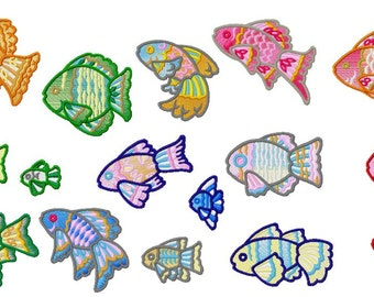 Fishes Machine Embroidery Design Pack, Instant Download, 4x4 Hoop Size, PES Format,