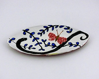 Handmade ceramic tray,  functional and decorative art pottery, spoon rest, table top art bowl, Ceramics, Pottery, Fine Art Ceramics