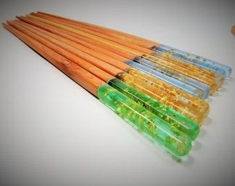 Mixed media juniper wood UVecopoxy fusion chop sticks. Juniper resin hair stick. Uber eco friendly.