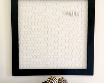 """32""""x32"""" Wire Frame, Photo Display, Framed Chicken Wire, Memo Board, Magnetic Board, Pin, Bulletin"""