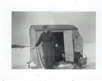 Vintage Ice Fishing Black and White Photo