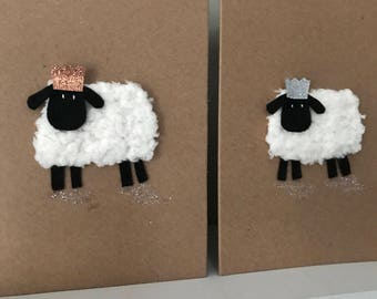 Sheep - Hand Knitted Sheep with Rose Gold or Silver Crowns Cards