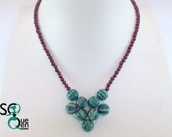 Natural gemstones - Amazonite and Garnet necklace