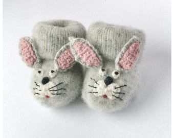 Bunny Newborn Knitted Baby Booties Bunny Rabbit Baby Socks  Animal Baby Socks   Hand Made Booties  Newborn socks Wool Socks Baby