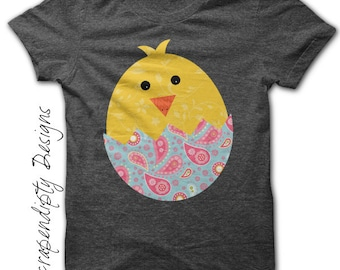 Easter Iron on Transfer - Baby Chick Iron on Shirt PDF / Easter Shirt Design / DIY Spring Tshirt Iron on / Infant Girls Clothes IT149-P