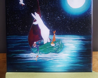 Boat full! Canvas print of original painting. 8 by 8 inches. Can be left blank or I can write words of your choice (max 10 words)