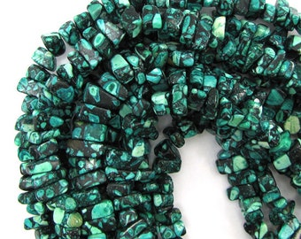 "10-13mm blue mosaic flower turquoise chip beads 16"" strand 12921"