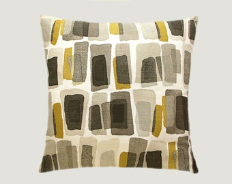 """Decorative Pillow case, Designer Off White Grey fabric with patterns Throw pillow case, fits 18"""" x 18"""" insert, Toss pillow case"""