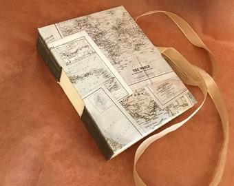 World Map Hand Bound Journal