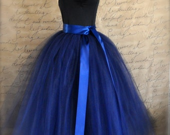 Full length navy tulle skirt. Navy tulle lined with black bridal satin for women. Weddings and formal wear.