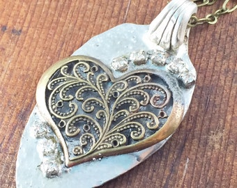 Heart Necklace, Rhinestone Soldered Pendant Heart Jewelry, Spoon Jewelry, Silver and Gold Heart Necklace