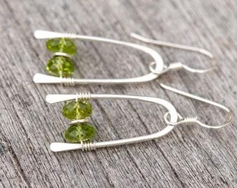 Peridot Earrings, Green Gemstones & Hammered Sterling Silver Earrings, Peridot Gem Stone Earrings Lime Green Earrings, August Birthstone
