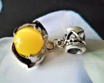 1 charm large hole 4 mm, Dolphin yellow cat eye glass bead