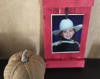 Rustic shutter style wood photo holder photo frame many colors