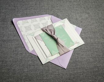 "Mint Wedding Invitations, Lilac Wedding Invites, Garden Wedding, Spring Wedding Ideas - ""Delicate Filigree"" FP-NL-v1 SAMPLE"
