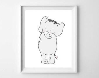 Elephant Printable Nursery Art,Printable Nursery,Elephant Nursery,Elephant baby Room,Elephant Decor,Elephant Girls Nursery,Elephant Girls
