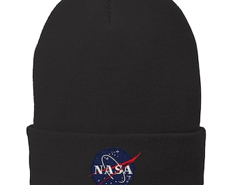 NASA Insignia Logo Embroidered Winter Cuff Folded Long Beanie - 7 Colors!