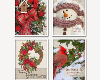 Christmas Watercolor Prints, Vibrant Colors, Wreath with Flowers, Snowman, Bird, Birdhouse, Wall Decor, Wall Art Prints, Instant Download