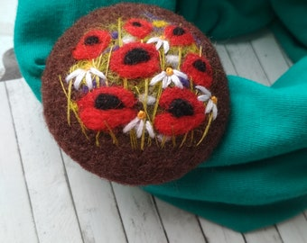 Flower jewelry,needle felted brooch,natural jewelry,flower brooch,gift ideas for her,inspired by nature brooch,felted poppy
