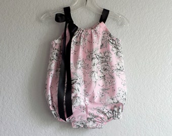 Baby Girl Pink Bubble Romper - Pink Floral Romper with Black and White - Pink & Black Infant Sun Suit - Size Nb, 3m, 6m, 9m, 12m, 18m or 24m