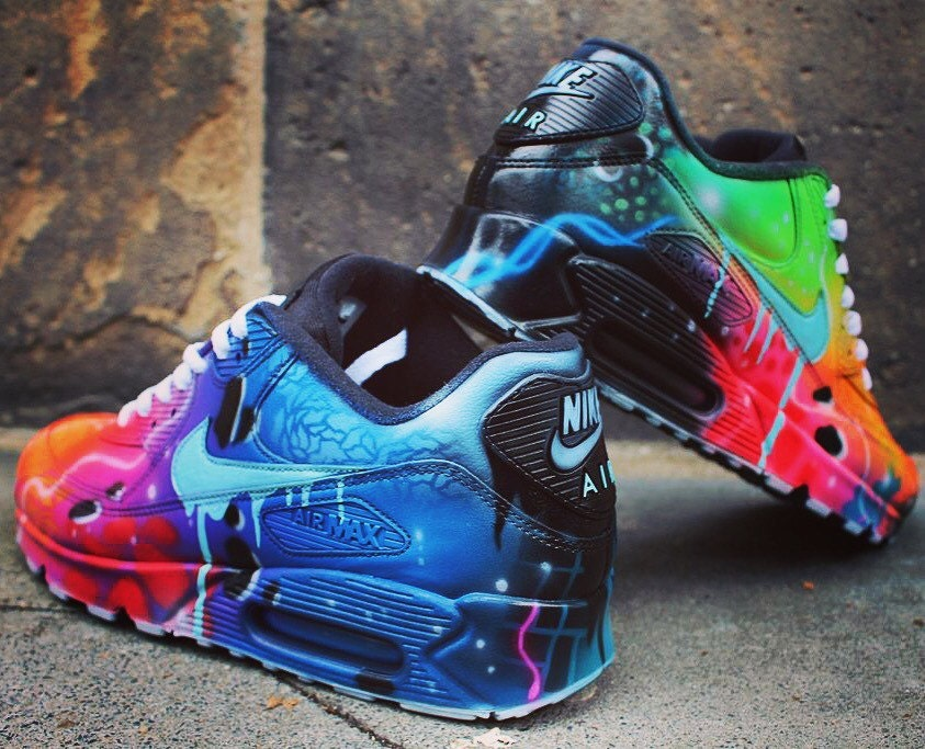 ?zoom & Nike Air Max 90 Blue Galaxy Style Painted Custom Shoes Sneaker
