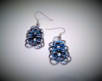 European Chainmail Earrings, Blue Accented Chainmaille Earrings