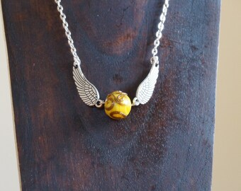 Necklace, Golden Snitch, Silver Necklace, Snitch Necklace, Harry Potter Inspired Necklace, Golden Snitch Necklace,