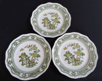 Green Transferware, THREE Plates MASON'S Manchu Boho chic, wall decor, green, yellow