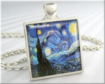 Van Gogh Starry Night Pendant Vincent Van Gogh Art Pendant Vintage Art Necklace Resin Charm Square Silver Art Lover Gift (118SS)