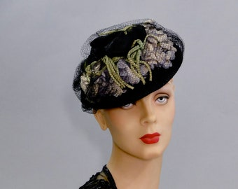 Black Felt Tilt Hat 1940's Fascinator Lilac Millinery Flowers New York Creation Women's War Era Fashions