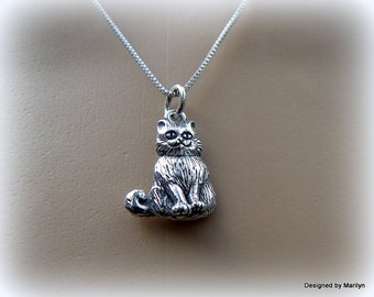 Sterling silver Kitty Cat necklace, feline jewelry, happy cat necklace