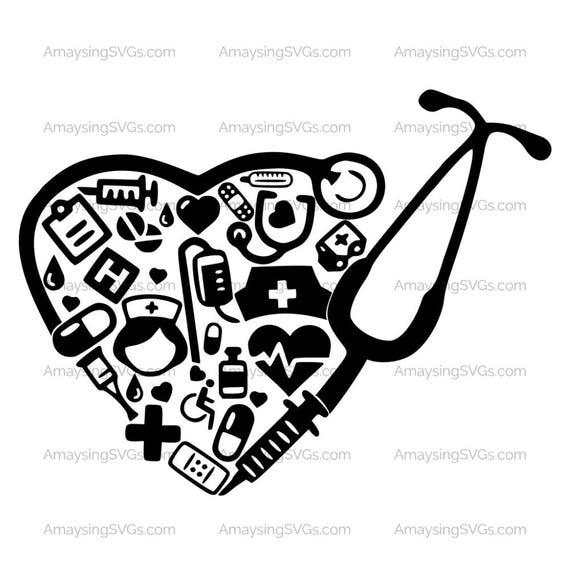 Medical Collage Stethoscope svg Medical Decal svg Nurse RN LPN