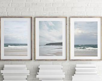 Coastal Wall Art Set of 3 Prints, Nautical Decor, Beach Prints, Ocean Photography, Digital Download, Seascape Printable Art, Beach Wall Art
