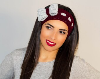 Knitted headband, womens knit headband, crochet bow headband, headband with bow, ribbon headband, bow headband women, boho headband