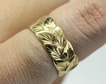 Gold Leaf Ring | 14k Yellow Gold Ring | Thin Stacking Statement Ring |