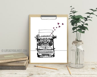 Vintage Typewriter Print / Original Gifts / Gifts for Her / Unique Gifting Ideas / Gifts for All / Handmade Items / Home Decor / Etsy Fresh