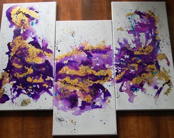 Abstract Acrylic Watercolor Fluid Triptych Painting