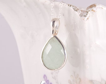 Light green natural chalcedony dainty pendant in sterling silver, teardrop shape, faceted small light green mint color pendant with necklace